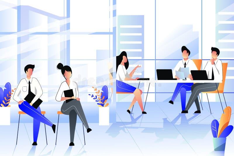 Jobbintervju med kandidaten i företagskontor Rekrytering och hyraaff?rsid? Plan illustration f?r vektor royaltyfri illustrationer