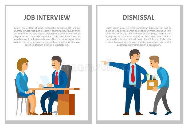 Jobbintervju och avskedande av anställdaffischer stock illustrationer