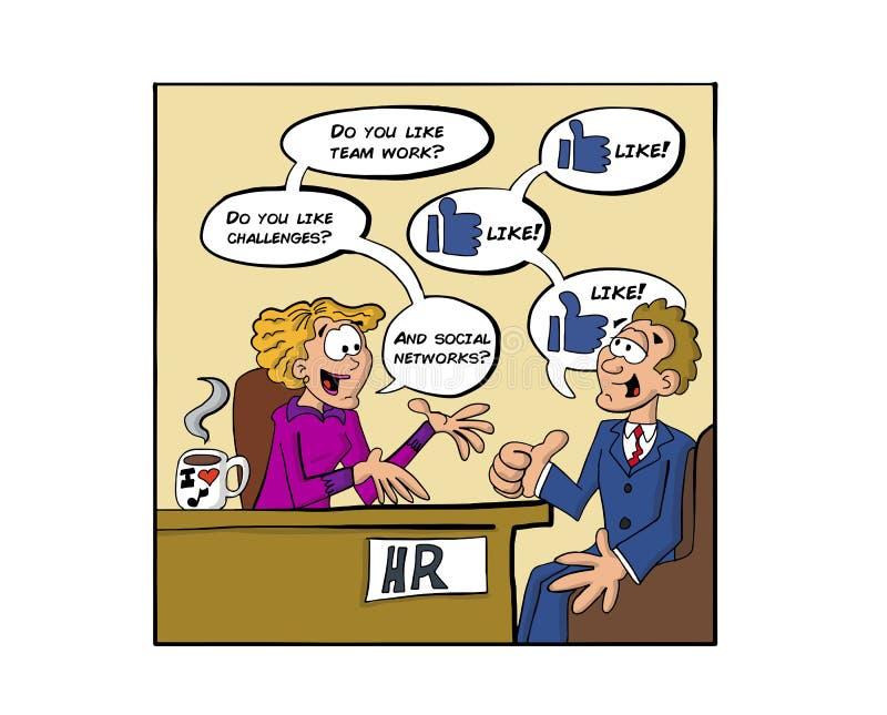 Jobbintervju som talar om sociala nätverk vektor illustrationer