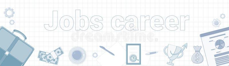 Jobbkarriärord på kvadrerat begrepp för utveckling bakgrundsför horisontalbaner personligt stock illustrationer