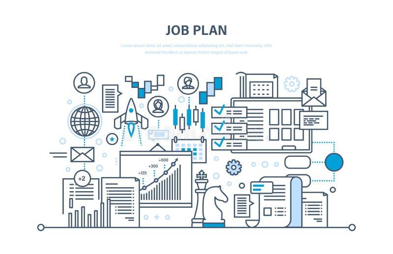 Jobbplanbegrepp Tid ledning, planläggning, marknadsföring, organisation Fokusen är endast på ordaffärsstrategin, i red vektor illustrationer