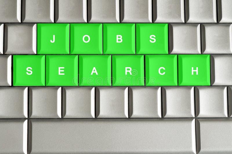 Jobbsökande som stavas på ett metalliskt tangentbord royaltyfri illustrationer