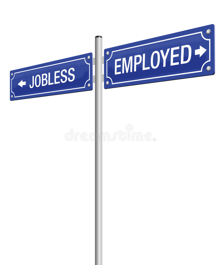 Jobless Employed Guidepost. JOBLESS and EMPLOYED written on a blue guidepost - isolated vector illustration on white background stock illustration