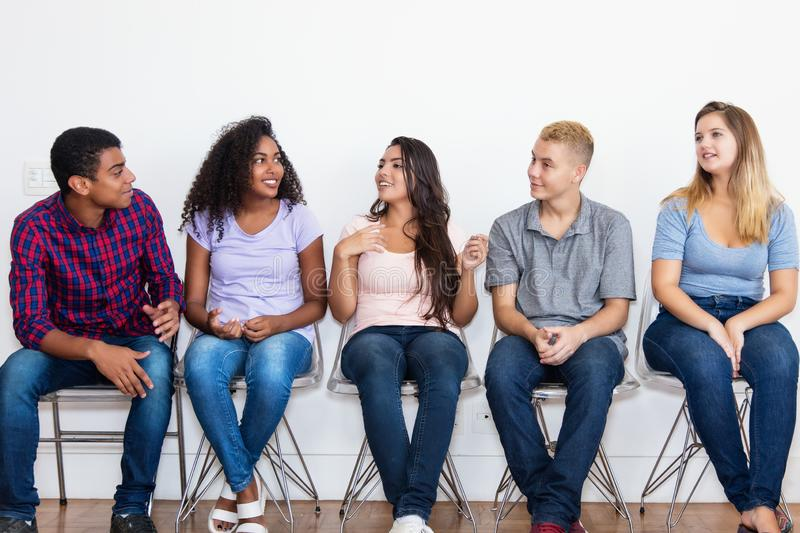 Jobless young adults waiting for a job interview. At office of company royalty free stock photos