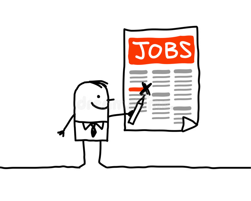 Jobs ads. Vector hand drawn characters line