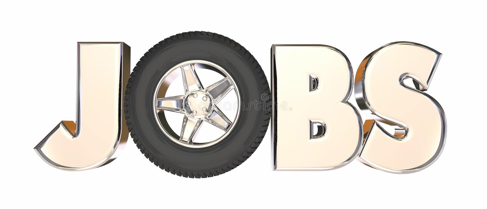 Jobs Automotive Trucking Career Wheels Word. 3d Illustration royalty free illustration