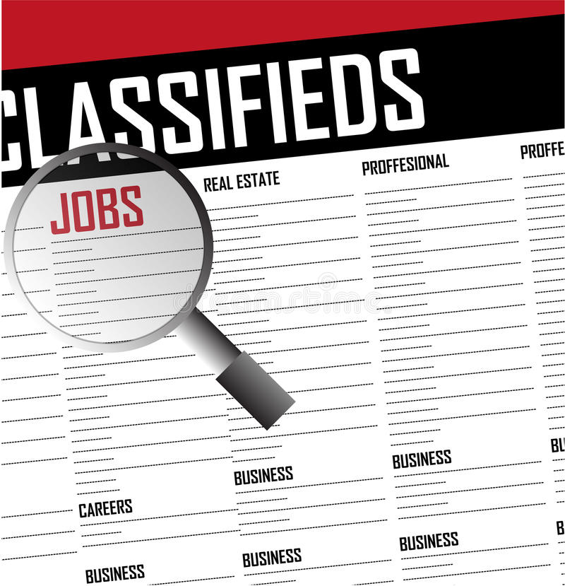 Jobs careers search classifieds background. Illustration stock illustration