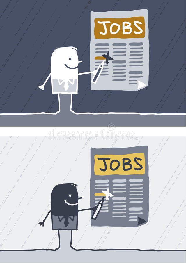Jobs colored cartoon. Hand drawn characters stock illustration