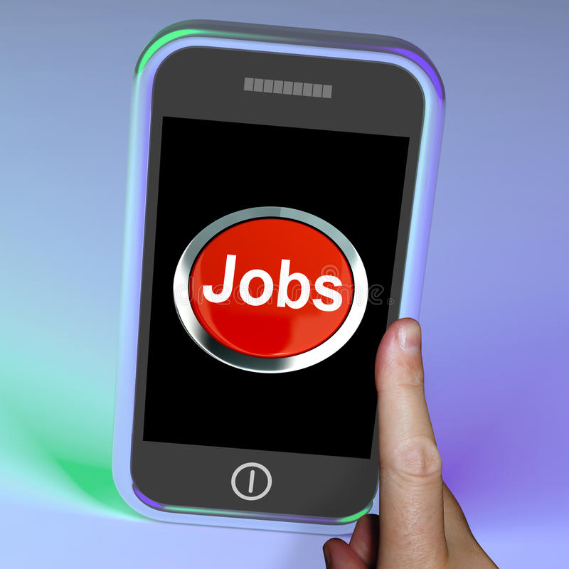 Jobs Computer Button On Mobile vector illustration