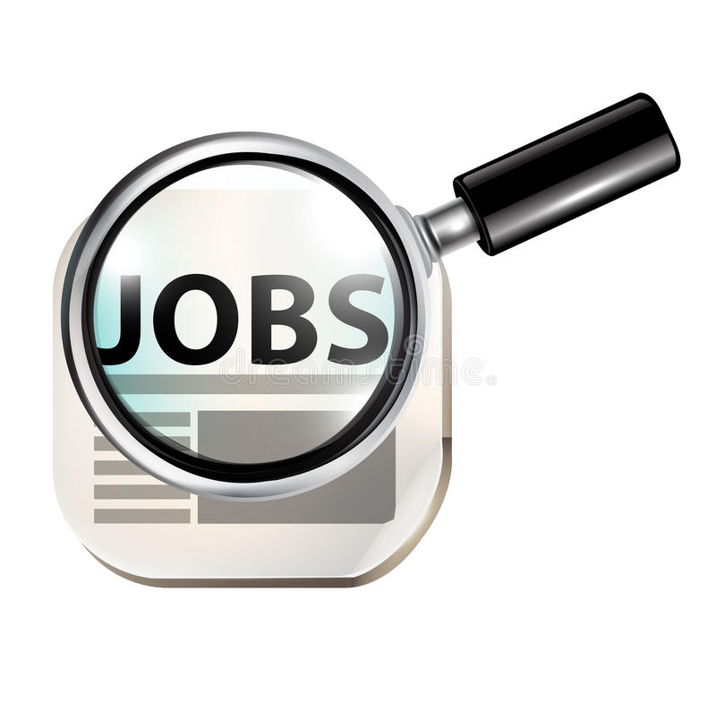 Jobs concept and magnifying glass vector illustration
