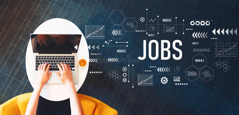 Jobs mit der Person, die einen Laptop verwendet lizenzfreie stockbilder