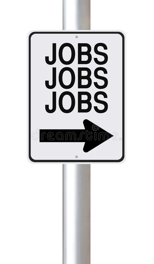 Jobs!. A modified one way sign about Jobs royalty free stock images