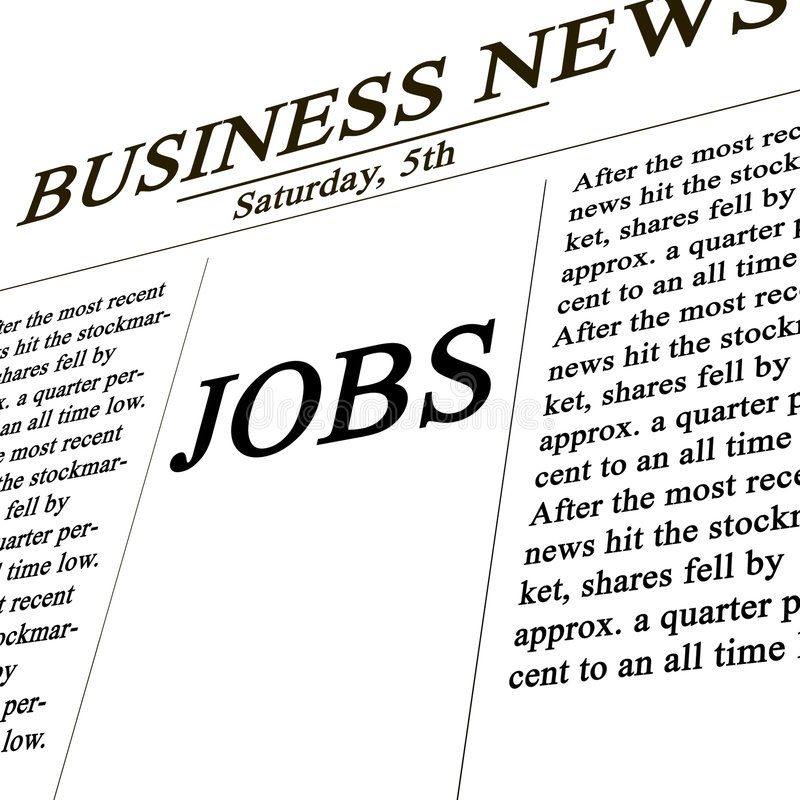 Jobs in the news paper. Business news vector illustration