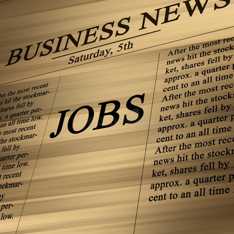 Jobs in the news paper. On a soft background vector illustration