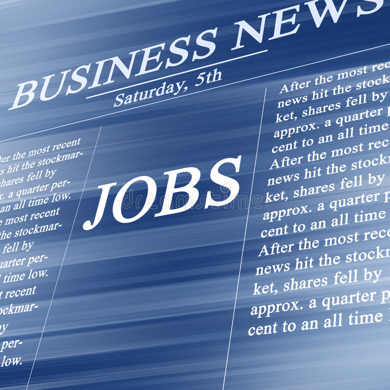 Jobs in the news paper. On a soft blue background stock illustration