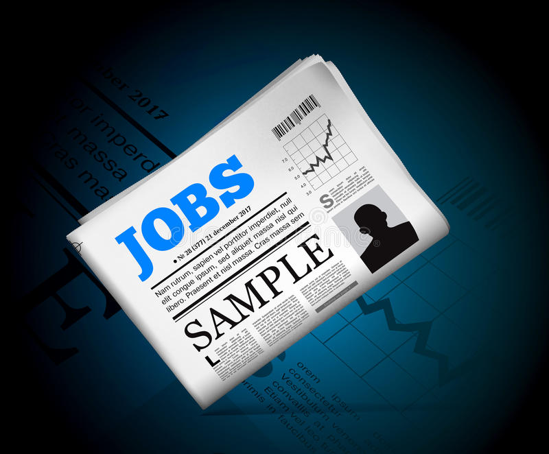 Jobs in newspaper. With perforated edges and texture. Vector illustration royalty free illustration
