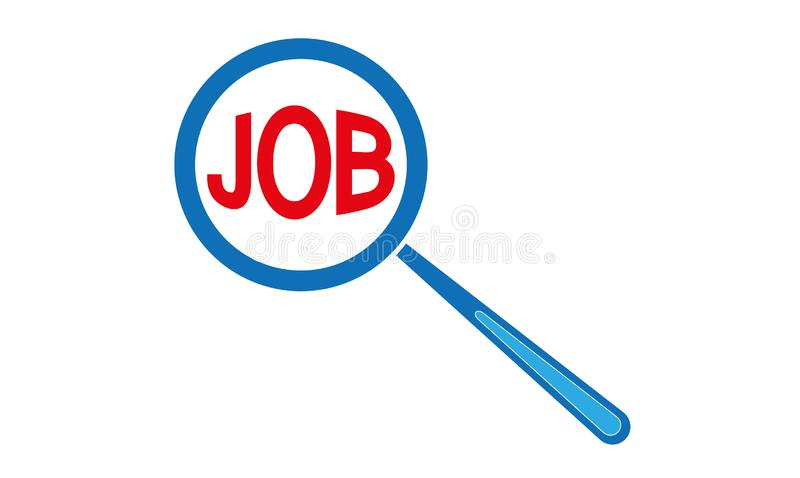 Jobs Text And Magnifying Glass - Searching For A Job Concepts. Zoom Jobs Text And Magnifying Glass - Searching For A Job Concepts for business company to hire stock illustration