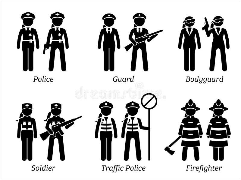 Jobs und Besetzungen der öffentlichen Sicherheit für Frauen stock abbildung