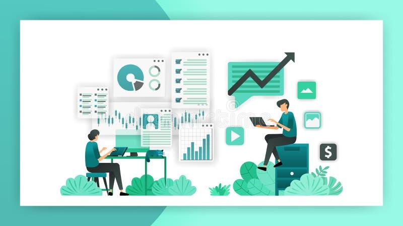 Jobs vom Haus werden ein Berufsfreiberufler, der Internet verwendet Arbeiten als kreatives Unternehmer- oder Datenanalytikervekto vektor abbildung