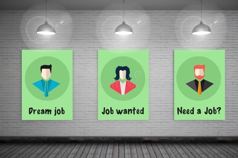 Jobs wanted signs hanging in room royalty free illustration