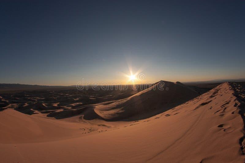Jobstepps im Sand, der zum Horizont ausdehnt stockbilder