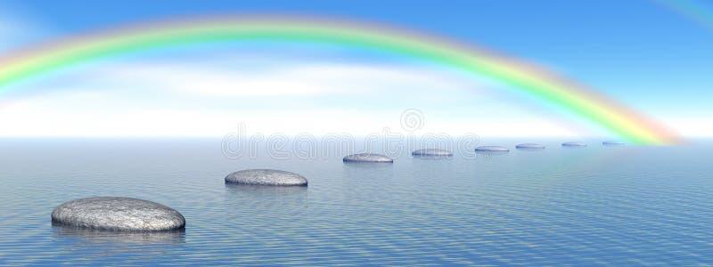 Jobstepps zum Regenbogen stock abbildung