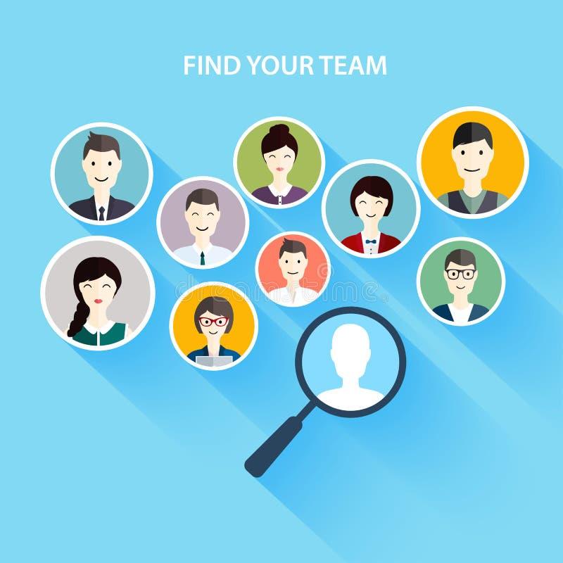 Jobsuche und Karriere Personalwesen Management und Kopf hunte stock abbildung