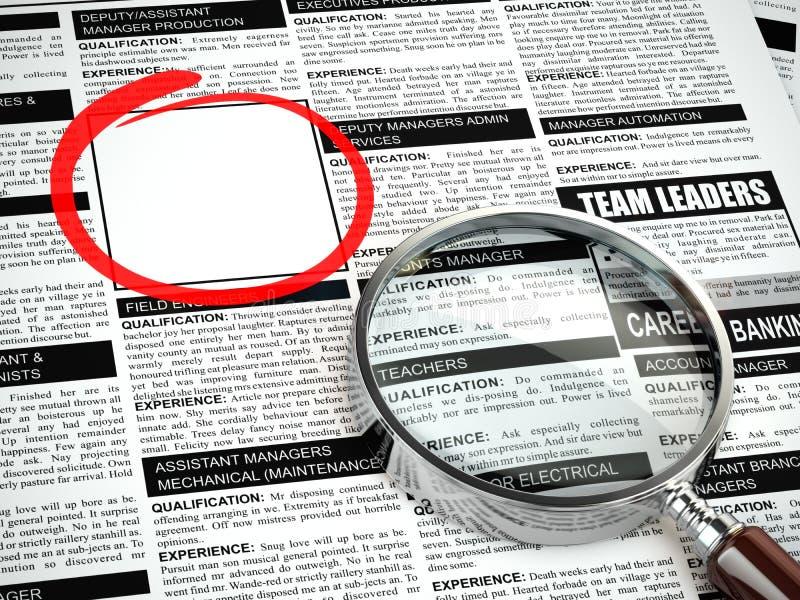 Jobzeichen unter dem Vergrößerungsglas auf einem weißen Hintergrund Lupe, Zeitung mit Beschäftigung advertiseme stock abbildung