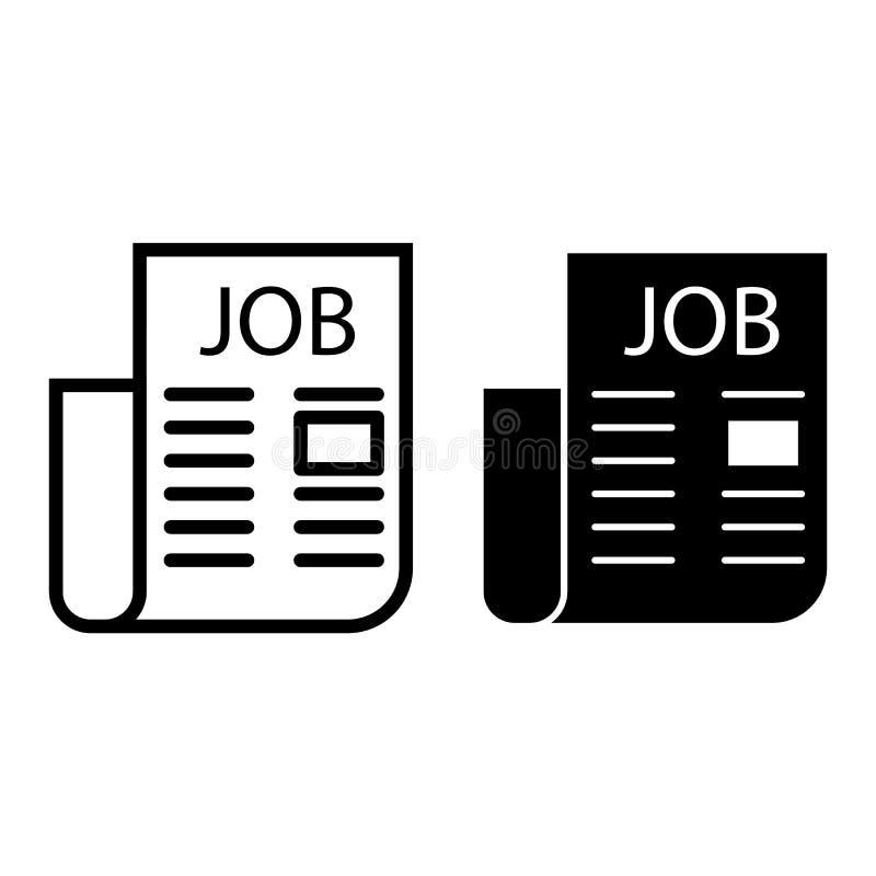 Jobzeitungslinie und Glyphikone Beschäftigungsvektorillustration lokalisiert auf Weiß Anzeigenentwurf der freien Stelle vektor abbildung
