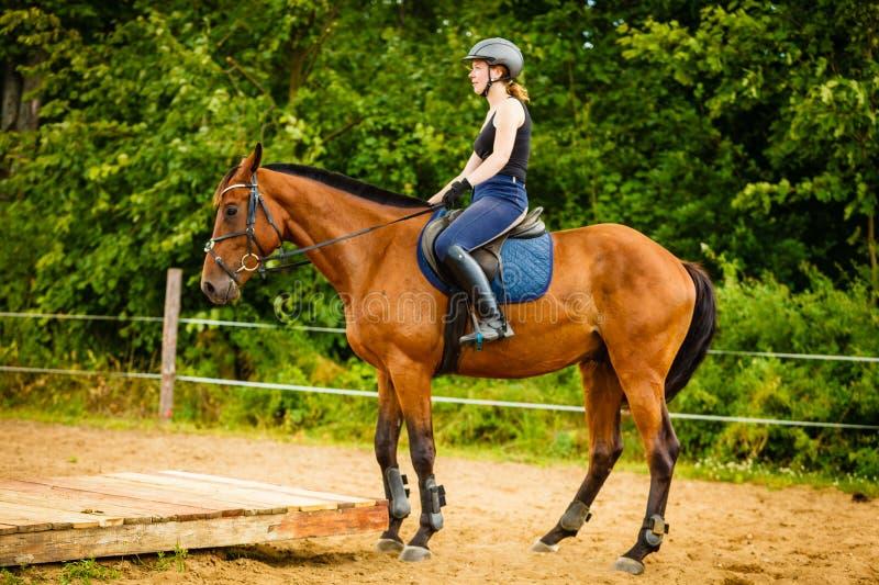 Jockey κορίτσι που κάνει την ιππασία στο λιβάδι επαρχίας στοκ εικόνα