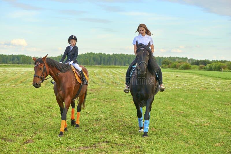 Jockey μικρών κοριτσιών και το λεωφορείο της που απελευθερώνουν ένα άλογο στοκ εικόνα