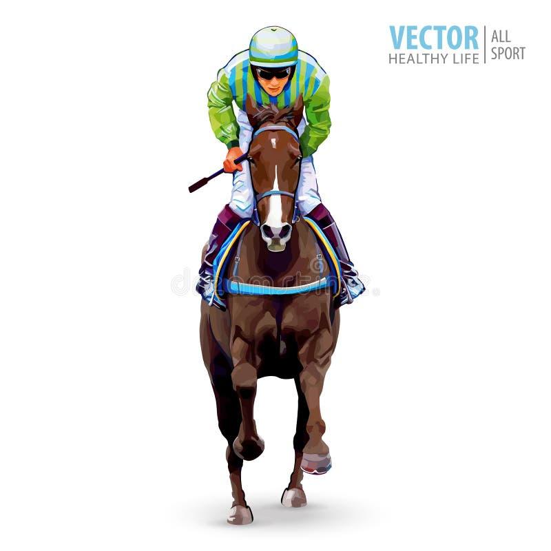 Jockey auf Pferd meister Pferd Racing hippodrome racetrack Springen Sie Rennbahn Reiter auf einem Pferd Laufendes Pferd, das zuer lizenzfreie abbildung