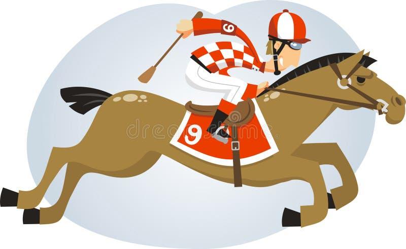 Jockey dans une illustration de course de cheval illustration stock