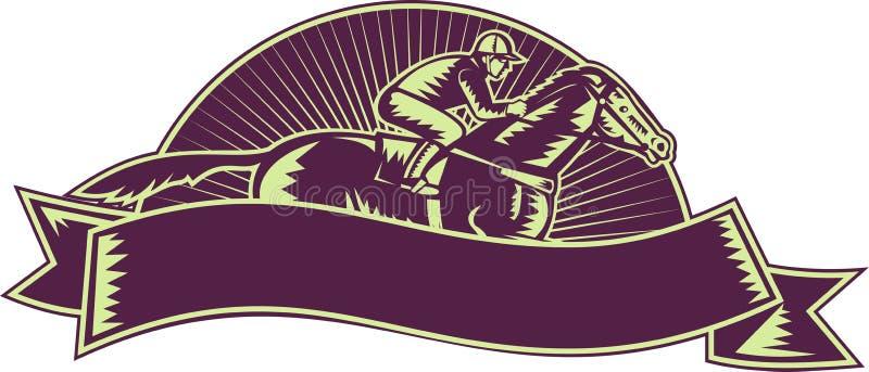 Jockey de cheval emballant la gravure sur bois de chemin illustration libre de droits