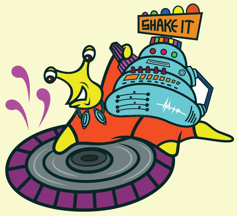 Jockey de disque Snail Cartoon illustration libre de droits