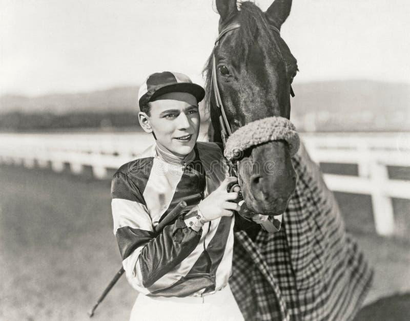 Jockey en kampioen royalty-vrije stock foto's