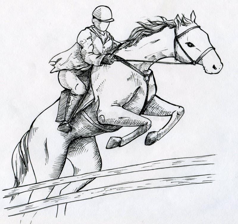 Jockey en paard stock illustratie