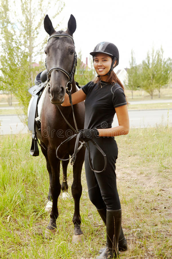 Download Jockey with horse stock image. Image of bridle, outside - 15968145