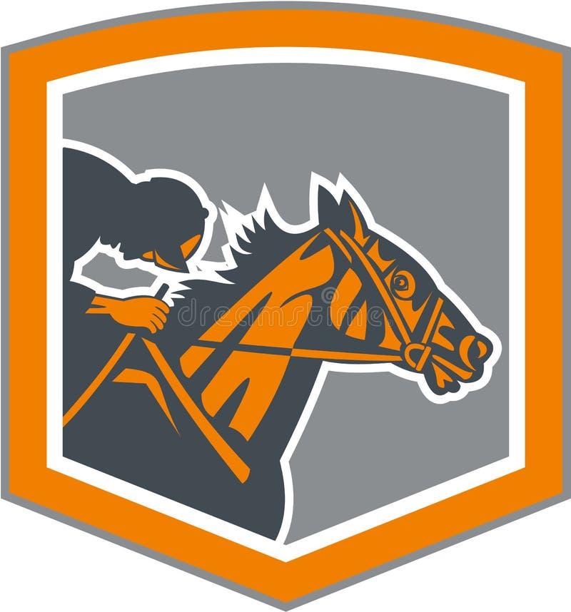 Jockey Horse Racing Shield Retro- vektor abbildung