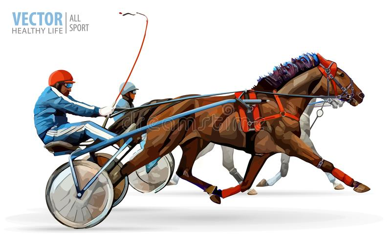 Jockey and horse. Two racing horses competing with each other. Race in harness with a sulky or racing bike. Vector. Illustration stock illustration