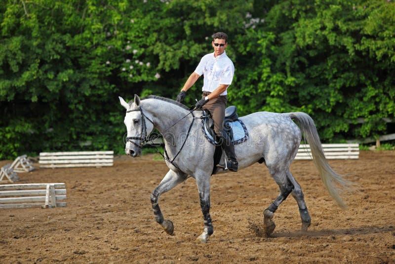 Jockey im Glasfahrpferd lizenzfreie stockfotografie