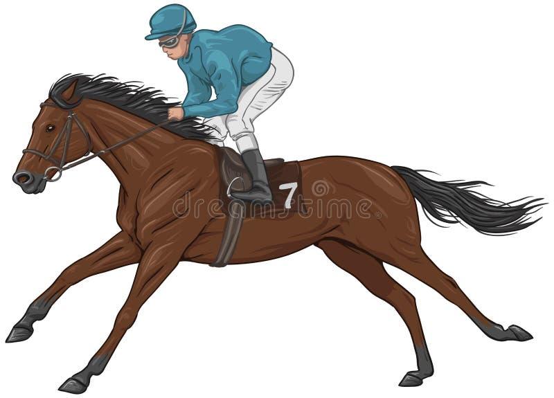 Jockey op een bruin renpaard royalty-vrije illustratie
