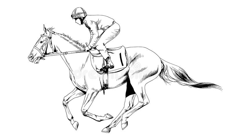 Jockey op een galopperend die paard met inkt met de hand wordt geschilderd vector illustratie