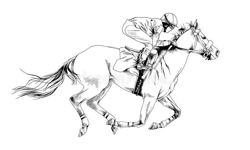 Jockey op een galopperend die paard met inkt met de hand wordt geschilderd stock illustratie