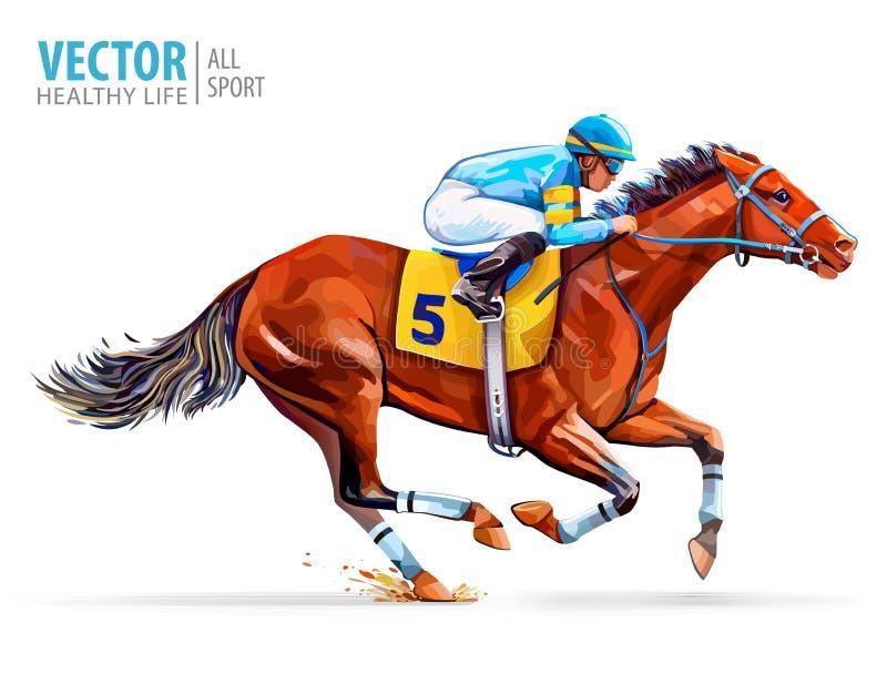Jockey op het rennen paard derby Sport Vector illustratie die op witte achtergrond wordt geïsoleerdd vector illustratie