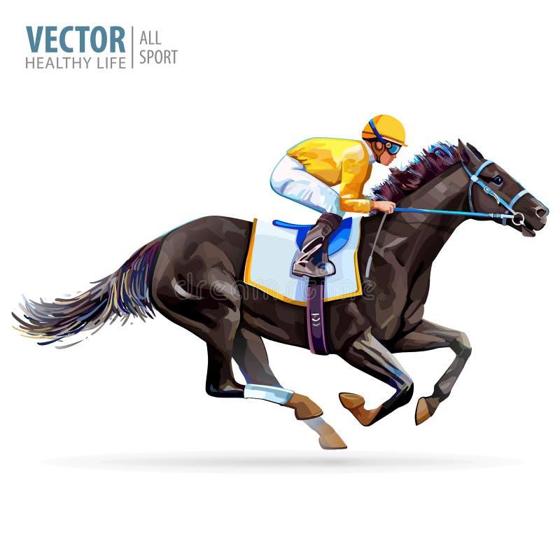 Jockey op het rennen paard kampioen hippodrome racetrack Sprongrenbaan Ruiter op een paard Vector illustratie derby stock illustratie