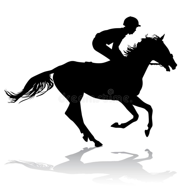 Jockey op paard 2 stock illustratie