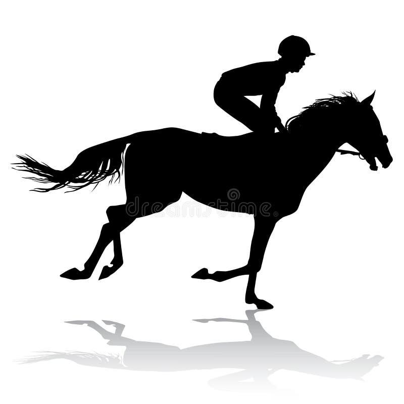 Jockey op paard 3 vector illustratie