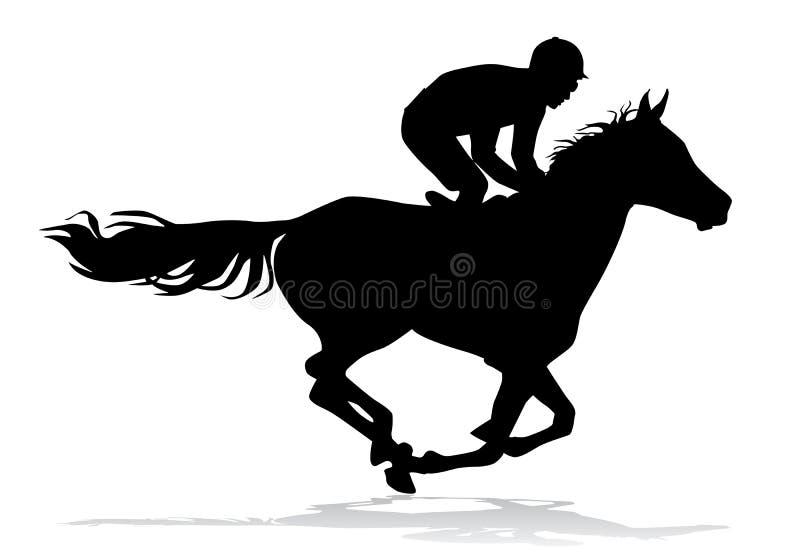 Jockey op paard royalty-vrije illustratie