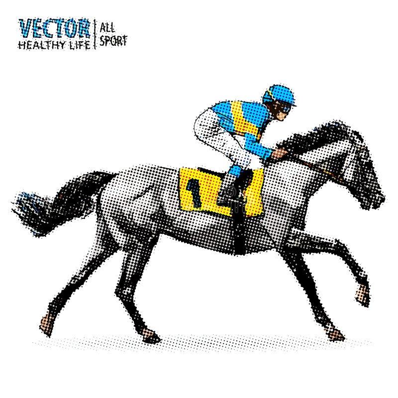 Jockey op paard kampioen Paard Racing hippodrome racetrack Sprongrenbaan Het rennen paard Sport pop-artstijl royalty-vrije illustratie
